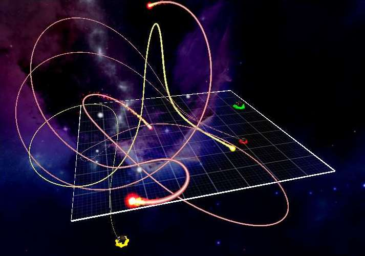 Image of game with multiple shots moving under the gravity of white dwarfs.