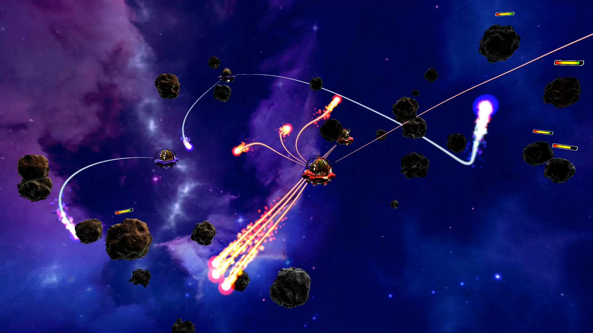 Image of game with multiple shots moving under the gravity of planets.